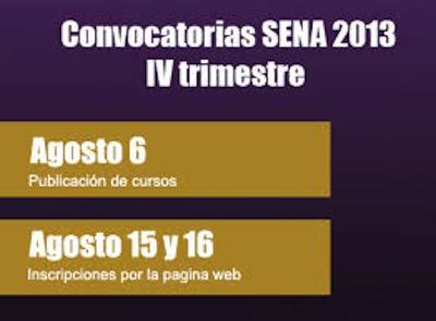 Convocatorias Cuarto Trimestre 2013 SENA